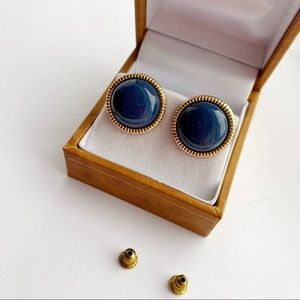Cute Vintage Round Navy Blue Gold Tone Earrings